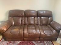 DFS Brown real leather set of 3 electric recliner sofa