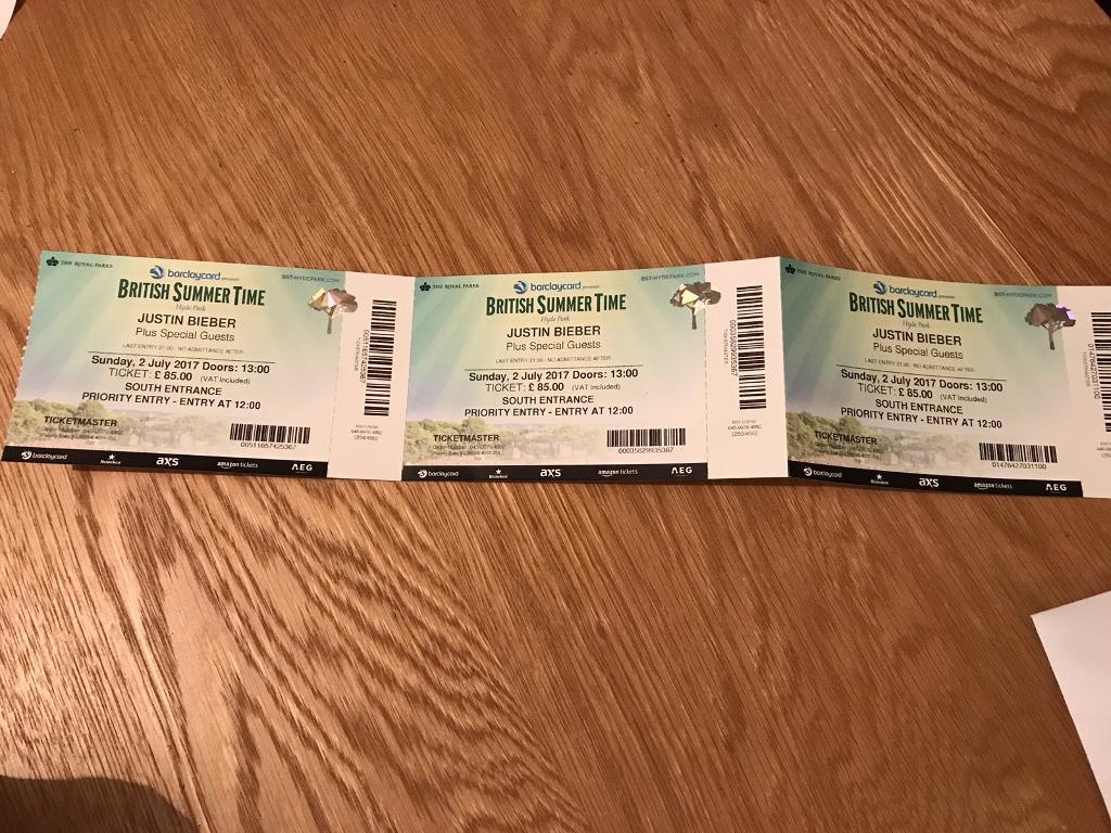 1 Justin Bieber Ticket Hyde Park 2nd July In Kirkcaldy Fife Gumtree