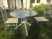 """Round Glass Top Patio Bestro Table Diameter 37"""" (94cm) Height 28"""" (71cm) and Two Chairs"""