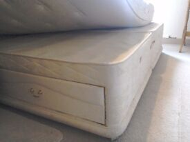 Divan Bases top range SEALY, single size, sprung with drawers. Can link to form Supe King Size Base