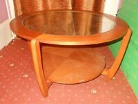 ROUND WOOD COFFEE TABLE WITH GLASS TOP SCANDINAVIAN / DANISH /GPLAN STYLE