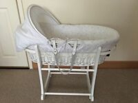 White and grey Moses basket, great condition. Stand and bassinet.