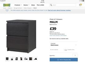 Ikea malm, black/brown two drawer bedside cabinet with glass top