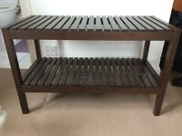 bathroom storage _ wooden bench _ Ikea MOLGER _ dark brown