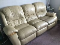 Cream Leather 3 Seater Settee and Single Armchair