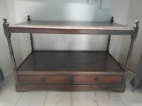 TV stand - dark brown mahogany finish with drawers