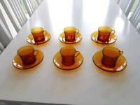Duralex Genuine 1960's Smoked Amber Glasses