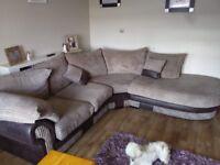 Cord & leather corner sofa & cuddle chair..