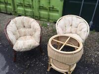 Whicker chairs & table