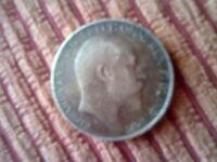 KING EDWARD SILVER ONE FLORIN COIN 1908