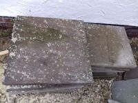 Riven paving slabs - 11 slabs 44.5cm, 10 slabs 59cm square . Free to collect