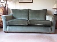 3 Seater Sofa and matching Chair from non smoking home in green velvet