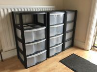 3 sets of plastic storage draws.