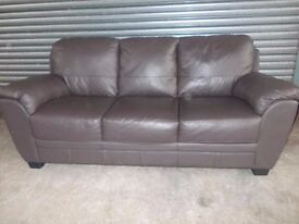 Brown Leather 3+2-seater Suite (Sofa)