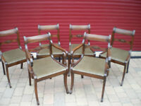 ANTIQUE DINING CHAIRS - SIX QUALITY ANTIQUE SOLID MAHOGANY, c1820. FINE CONDITION.