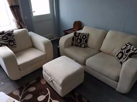 2 seater sofa armchair and pouffe.