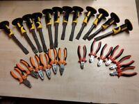 Mix of tools !!! Masonry Chisel TONGS WIRE CUTTER 24 painting brushes masonry scraper