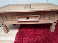 Corona solid pine coffee table with single drawer. (Collection only)