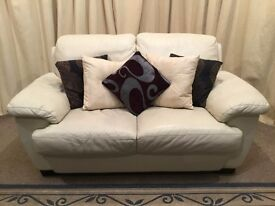 Cream Leather 2 Seater Sofa - UK Delivery Available