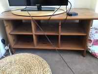Wooden tv stand and turntable