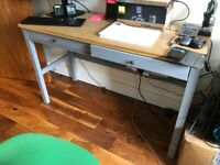 HEMNES Desk with 2 drawers, white stain 120x47 cm