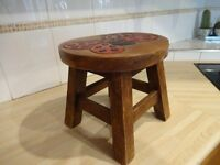 CHILDS STOOL ~ HAND CARVED ~ BUTTERFLY