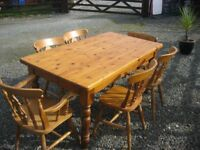 LONG SOLID PINE ORNATE RECTANGULAR TABLE & 6 ORNATE PINE CHAIRS. VIEWING/DELIVERY AVAILABLE