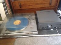 Record player, amp, speakers and records bundle