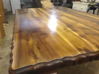 Regal Oak Table With Hand Carved Claw Feet