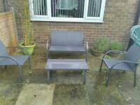 Garden table and chair set with bbq