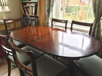 Solid Rosewood Mahogany Dining Table and Six Chairs