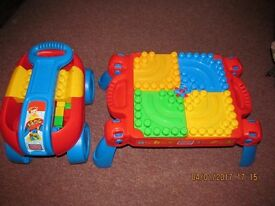 Mega Bloks 3-in-1 Play N Go Table & Mega Bloks Play n Go Wagon Blue and Red £25-00 ONO for Both