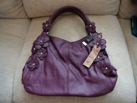NEW - NEXT – Plum colour SHOULDER BAG / HANDBAG – Faux Leather + Flowers – NEW WITH TAGS - REDUCED