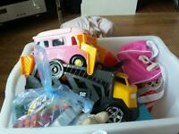 Big box of children's assorted toys & clothes