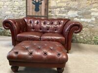 Oxblood Leather Chesterfield Sofa 2 seater & Footstool Barker & Stonehouse