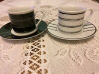 Black and White striped design cup and saucer