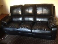 Black Leather Three/Four Seater Living Room Sofa - Fully Functional/Good Condition
