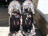 Cosatto Supa Dupa Double Buggy. Big Sis Little Sis with accesories as per photos. Pick up only
