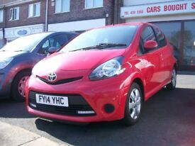 TOYOTA AYGO. MOVE IN STYLE TOM TOM. 71017 MILES. RED 998cc. PETROL. MANUAL