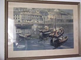 """""""Mevagissey Harbour"""" Signed Print by David Shepherd"""