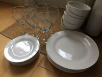 24 piece dinner set - plates, bowls and glasses