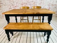 Pine Kitchen Dining Table Rustic Farmhouse Reclaimed Style - Any Size, Any Colour!