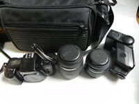 Canon EOS 1000f SLR Film Camera - Sigma 70-210/35-80mm Lens + Bag + Miranda Flashgun