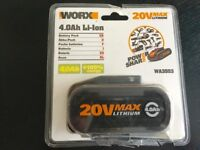 The WORX WA3553 is a powerful 20V 4.0Ah Lithium battery is interchangeable with other 20V Worx tools