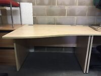 Wave Desk, Finished In Maple. 1400mm Width x 1000-800mm Depth. 1 Right-Hand In Stock!