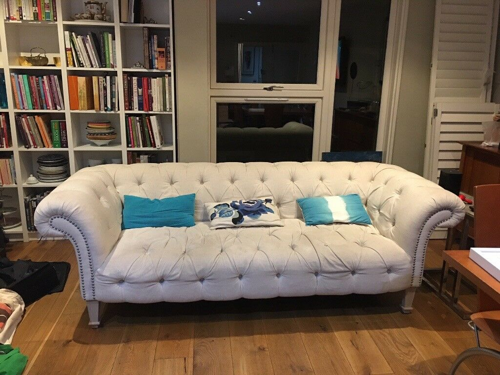 Cream Oka Chesterfield Sofa