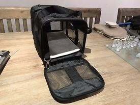 Black zip-up kitten carrier bag with carry strap