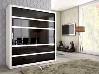 Brand New Modern High Quality 2 Sliding Door Wardrobe BARI White / Black / Ash (White/Black)