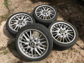 BMW E46 MV1, 18 inch Alloy wheels with tyres, staggered fitment, 8j 8.5j, 5x120