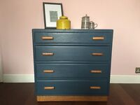 Midnight Blue and Oak Chest of Drawers with Original Handles